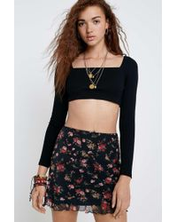 3fcbe2b3b76 Urban Outfitters - Uo Square Neck Long-sleeve Super Crop Top - Womens Xs -