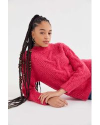 0232514fa Lyst - Urban Outfitters Uo Cable Knit Cut-out Sweater in Black