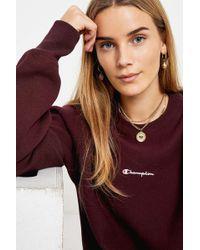 Champion - Script Logo Aubergine Crew Neck Sweatshirt - Womens Xs - Lyst