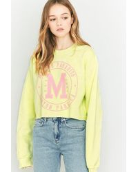 BDG - Malibu Lime Green Cropped Sweatshirt - Lyst