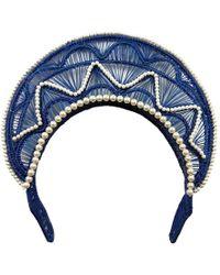 Magnetic Midnight - Blue Iraca Halo Headpiece - Lyst