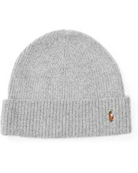 9af301576a9 Lyst - Polo Ralph Lauren Signature Merino Cuff Hat in Gray for Men