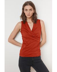 Velvet By Graham & Spencer - Adelise Gauzy Whisper Fitted Wrap Tank - Lyst