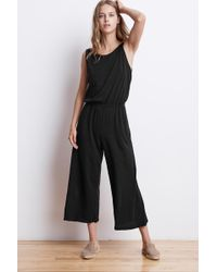Velvet By Graham & Spencer | Aubriella Cotton Slub Sleeveless Jumpsuit | Lyst