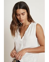Velvet By Graham & Spencer - Dion Rayon Challis Ruffle Sleeveless Blouse - Lyst