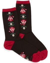 Vera Bradley - Bordeaux Blooms Border Patterned Crew Socks - Lyst
