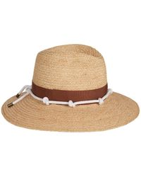 Veronica Beard - Sundowner Wide-brim Fedora With Floral Print Tie And Knotted Rope - Lyst