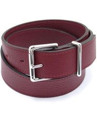 Hermès - Burgundy Leather Belts - Lyst