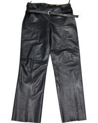 Loewe - Black Leather Trousers - Lyst
