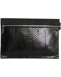 Victoria Beckham - Black Exotic Leathers Clutch Bag - Lyst