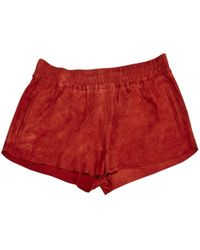 Maje - Pre-owned Red Suede Shorts - Lyst