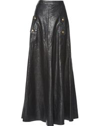 Chloé - Pre-owned Leather Maxi Skirt - Lyst