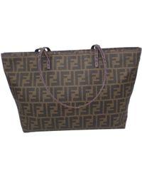 326f942f49fc Fendi - Roll Bag Brown Cloth Handbag - Lyst
