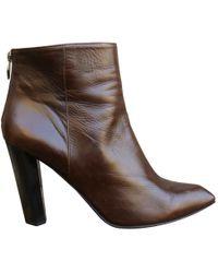 Diane von Furstenberg - Brown Leather Ankle Boot - Lyst
