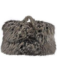 947163b94be65 Lyst - Givenchy Logo Faux Fur Clutch -