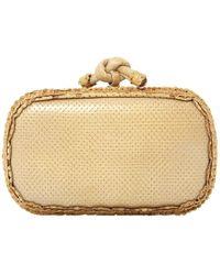 Bottega Veneta - Pochette Knot Beige Leather Clutch Bag - Lyst