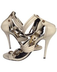 Balmain White Leather Sandals