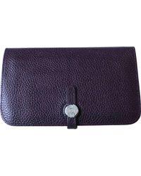 Hermès - Dogon Purple Leather Purses, Wallets & Cases - Lyst