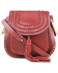 5c386878 Chloé Hudson Leather And Suede Patchwork Shoulder Bag in Black - Lyst