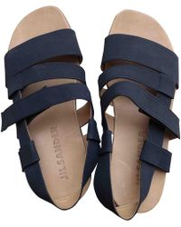 Jil Sander - Blue Cloth Sandals - Lyst
