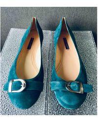 Ralph Lauren Collection - Green Leather Ballet Flats - Lyst