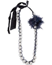 Lanvin - Navy Pearl Necklace - Lyst