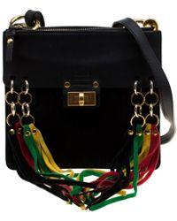 7b1766fcbf Chloé Jane Tassel-trim Leather Crossbody Bag in Black - Lyst