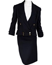 Chanel - Pre-owned Vintage Navy Wool Skirts - Lyst