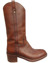 Louis Vuitton - Brown Leather Boots - Lyst