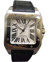Cartier - Santos 100 Xl Silver Steel Watches - Lyst 3ad7afe052da3