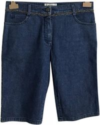 Chanel - Blue Cotton Shorts - Lyst
