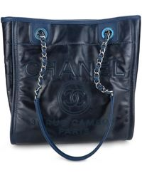 Chanel - Pre-owned Deauville Navy Leather Handbags - Lyst