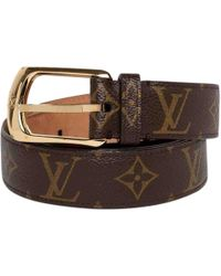 a41cd5cc3816 Lyst - Louis Vuitton Monogram Ceinture Carre Belt Brown in Metallic ...