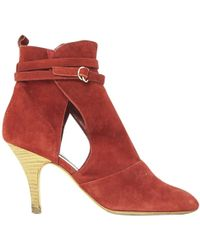 Vanessa Bruno - Pre-owned Burgundy Suede Ankle Boots - Lyst