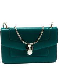 76e36108a8d0 BVLGARI - Pre-owned Serpenti Green Leather Handbags - Lyst