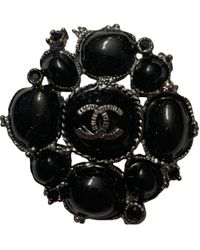 Chanel - Cc Black Metal Pins & Brooches - Lyst