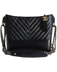 cc15ac3421adec Chanel Pre-owned Gabrielle Leather Handbag in Black - Lyst