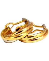 Cartier - Pre-owned Vintage Trinity Multicolour Yellow Gold Earrings - Lyst