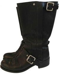 Pre-owned - Leather biker boots Dior Eq4EwdDh