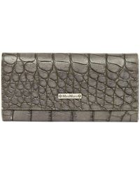Max Mara - Pre-owned Grey Leather Wallets - Lyst