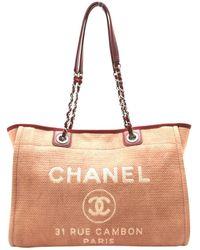 Chanel - Deauville Red Cloth Handbag - Lyst