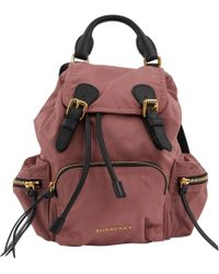 31610496bc0d Burberry - Pre-owned Pink Cloth Backpacks - Lyst