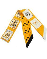 Hermès - Twilly Yellow Silk Scarves - Lyst