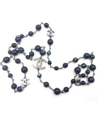 Chanel - Blue Metal Necklace - Lyst