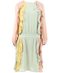 Valentino - Green Silk Dress - Lyst