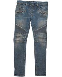 Balmain - Pre-owned Blue Cotton - Elasthane Jeans - Lyst