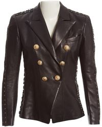 840559fa Balmain Double-Breasted Leather Jacket in Black - Lyst