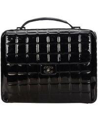 Chanel - Vintage Black Patent Leather Handbag - Lyst