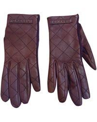 Chanel - Burgundy Leather Gloves - Lyst
