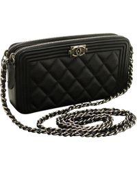 9f10170eb2085a Chanel Boy Patent Leather Crossbody Bag in Black - Lyst